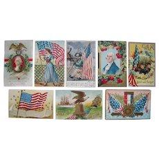 Lot 8 1910 Patriotic Postcards