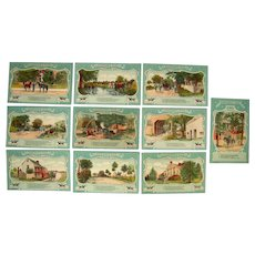 Complete Set of 10 Civil War Sheridan's Ride Postcards c1910s