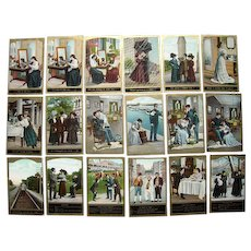 Lot 18 Misc Romantic, Humorous, Cute Postcards c1909 #1