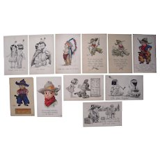 Lot 11 Cowboys/Indians Children Postcards Artist Signed Wall c1910