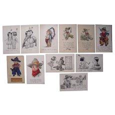 Lot 11 Cowboys/Indians Children Postcards Artist Signed Wall c1910