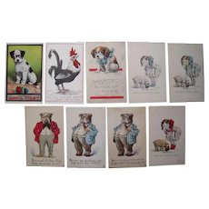 Lot 9 c1910 Comic/Cute Animal Postcards Artist Signed Wall (incl 3 Dressed Bulldogs)