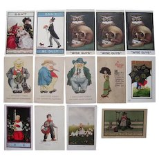 Lot 14 c1910 Misc Comic, Cute, Etc Postcards Artist Signed Wall