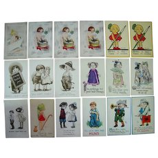 Lot 18 c1910s Cute Children Postcards Artist Signed Wall