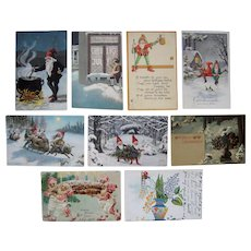 Lot 9 1900s/1910s Postcards of Elves (incl early German)