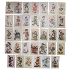Lot 34 Artist Signed Bonnie Postcards of Children c1950s