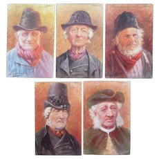 Lot 5 Artist Signed Gerstenhauer Postcards of Old Dutch Men