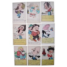 Lot 9 Artist Signed Vic French Hand Colored Characters Postcards c1940