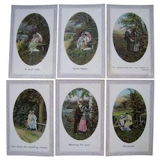 Lot 6 German Romantic Postcards c1910s