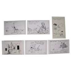 Lot 6 1930s/1940s Comic Way Out West Postcards Artist Signed Hal Empie
