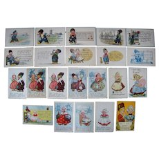 Lot 22 Cute Dutch Children  Postcards Artist Signed Wall c1910