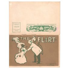 "1907 Booklet Postcard ""The Flirt"""