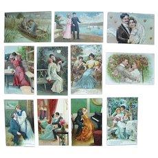 Lot 11 1900s PFB Romantic Postcards