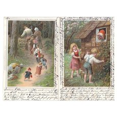 Pair 1898 German Fairy Tale Postcards (Tom Thumb, Hansel and Gretel)