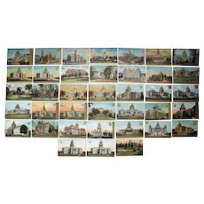 Lot 38 State Capitol Postcards w/Gold Highlights c1910