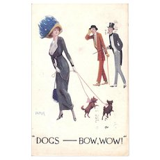 1914 Postcard Glamour Lady Walking Dogs Artist Signed Jamay