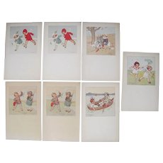 Lot 7 1919 Zoe Borelli Alacevich Artist Signed Postcards of Children