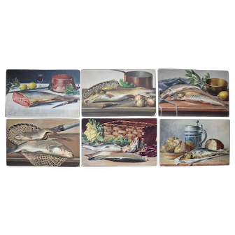 Lot 6 1900s Artist Signed Postcards Preparing Fish Dinners
