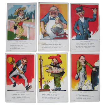 Lot 6 1910 Comical Occupational Postcards
