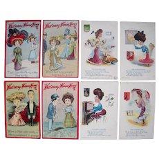 Lot 8 1910 Comic Postcards of Women