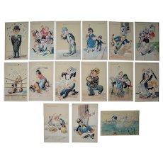 Lot 15 Comic Italian Postcards c1930s