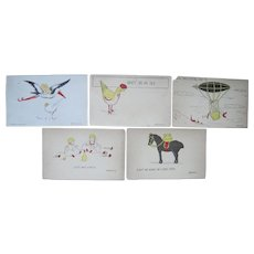 Lot 5  1907 Artist Signed Grace Harlow Postcards of Cute Sayings