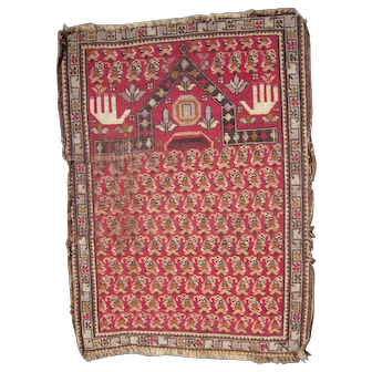 Antique c1900 or Earlier Persian Prayer Rug 2 1/2' x 4'