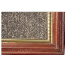 """Large Deep Victorian Walnut Picture Frame w/Striped Stenciled Liner 17 1/2"""" x 25 1/2"""""""