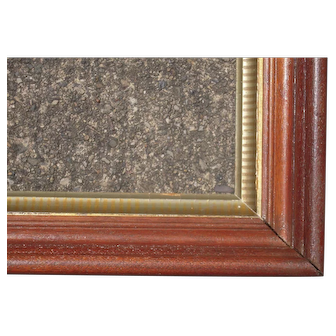 "Large Deep Victorian Walnut Picture Frame w/Striped Stenciled Liner 17 1/2"" x 25 1/2"""
