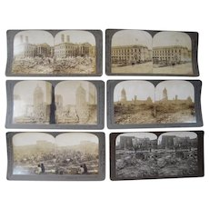 Lot of 6 Misc 1906 San Francisco Earthquake Stereoviews