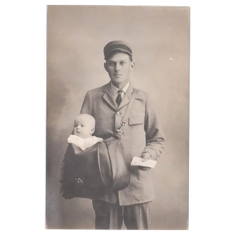 c1910s/1920s RPPC of Mailman or Postman