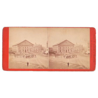 1870s Stereoview  Boston and Maine RR Station in Boston, MA