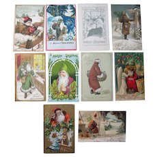 Lot 10 1900s/1910s Santa Postcards w/Various Colored Robes