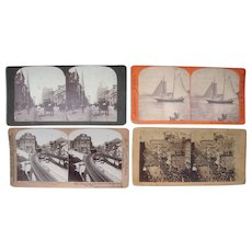 Lot 4 New York City Stereoviews incl 1 with Brooklyn Bridge Construction