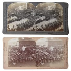 Pair busy Street Scene Stereoviews San Francisco, CA w/Spanish American War Troops