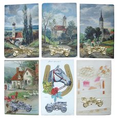 Lot 6 c1910 Postcards with Metal Automobile Add Ons