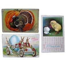 Lot 3 Squeaker Mechanical Postcards c1910, (2 Easter, 1 Thanksgiving Postcards)