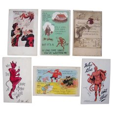 Lot 6 Postcards of Devils from 1904 to 1944