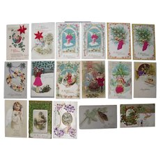 Lot 17 Christmas Postcards with Add Ons c1910s.