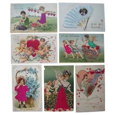 Lot 7 Valentine Postcards w/Add Ons c1910