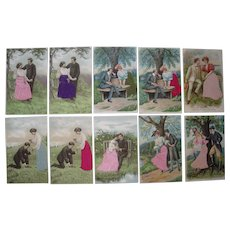 Lot 10 Romantic Postcards w/Silk Add Ons c1910.