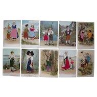 Lot 10 Postcards of European People w/Silk Add Ons c1905-1910