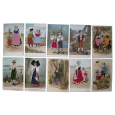 Lot 10 Postcards of European People w/Silk Add Ons c1905-1910