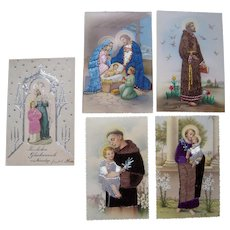 Lot 5 Religious Postcards w/Silk Add Ons