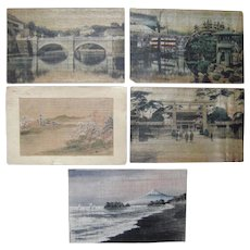 Lot 5 Postcards from Japan w/Add Ons or on Wood