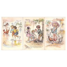 Lot 3 1930s Artist Signed Germaine Bouret Postcards of Children