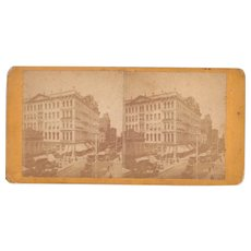 c1870s Stereoview of Photo Gallery and Busy Street Scene New York City