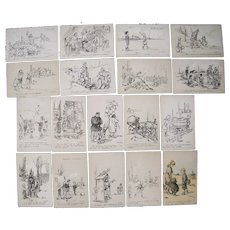 Lot 18 WWI Era Artist Signed Poulbot French Postcards