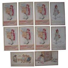 Lot 10 Artist Signed C.M. Burd Postcards of Children, 1916
