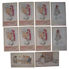 Lot 11 Artist Signed C M Burd Postcards of Children, 1916